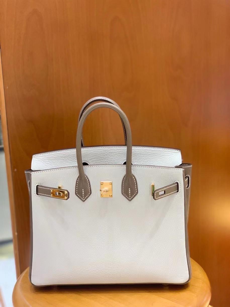 Hermès(爱马仕)Birkin 铂金包 山羊皮 大象灰 拼 珍珠灰 金扣 25cm