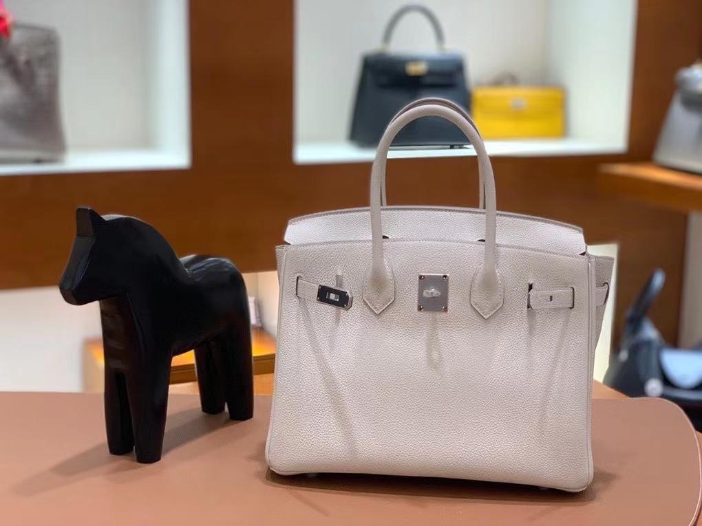 Hermès(爱马仕)Birkin 铂金包 Togo 奶昔白 银扣 30cm