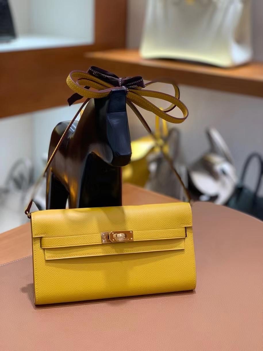 Hermès(爱马仕)Epsom 9D琥珀黄 Kelly togo wallet 金扣 现货