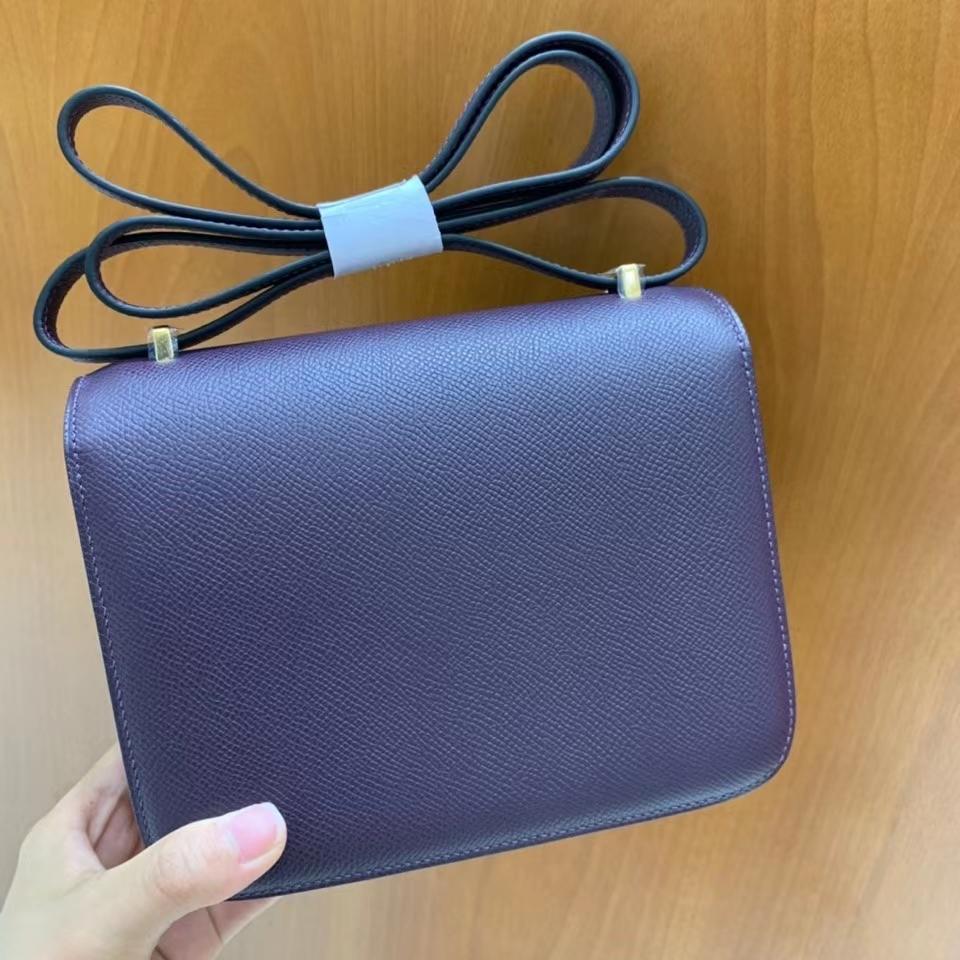 Hermès(爱马仕)Constance 空姐包 epsom 葡萄紫 19cm 金扣 现货