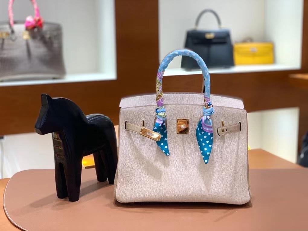 Hermès(爱马仕)Birkin 铂金包 Togo 奶昔白拼风衣灰 金扣 30cm