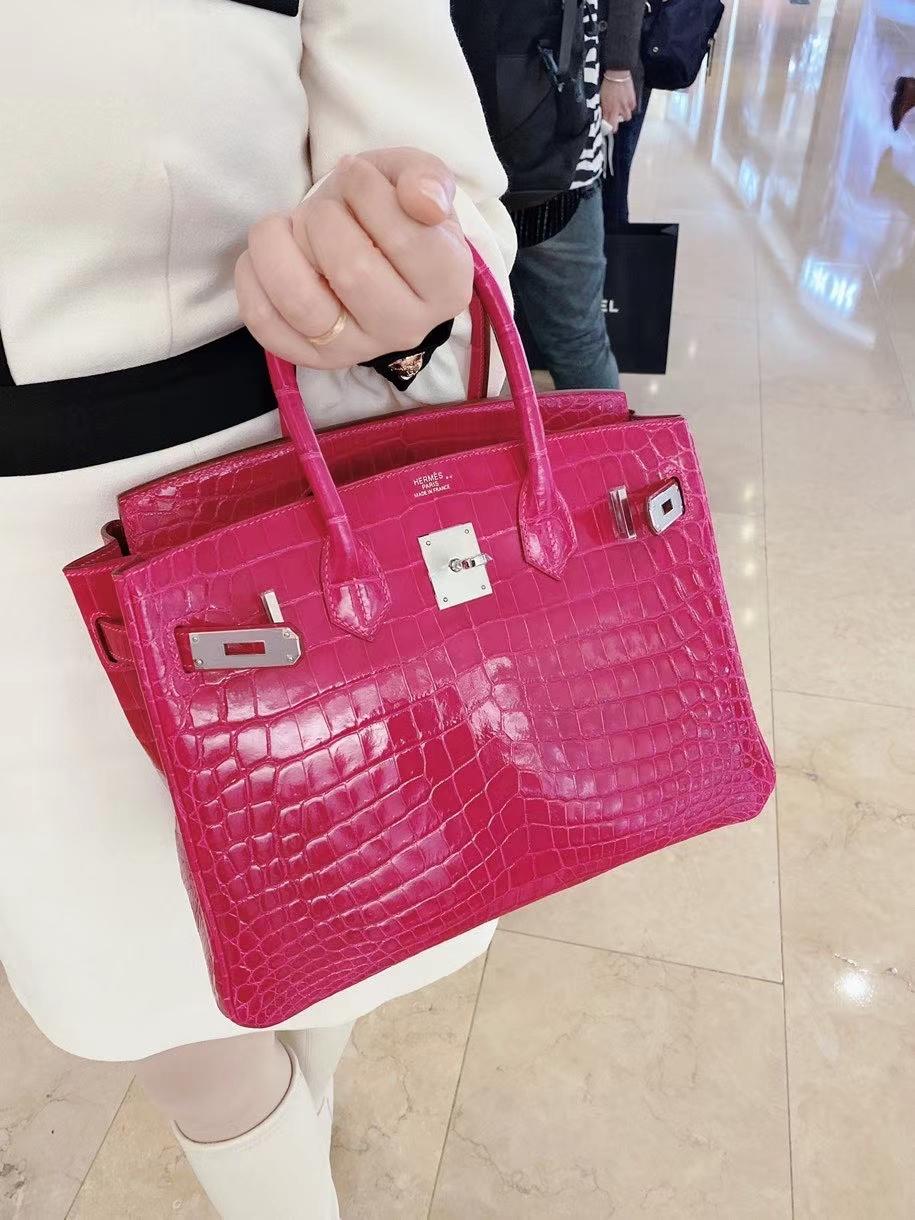 Hermès(爱马仕)Birkin 铂金包 亮面 尼罗鳄 天方夜谭紫 银扣 30cm 现货