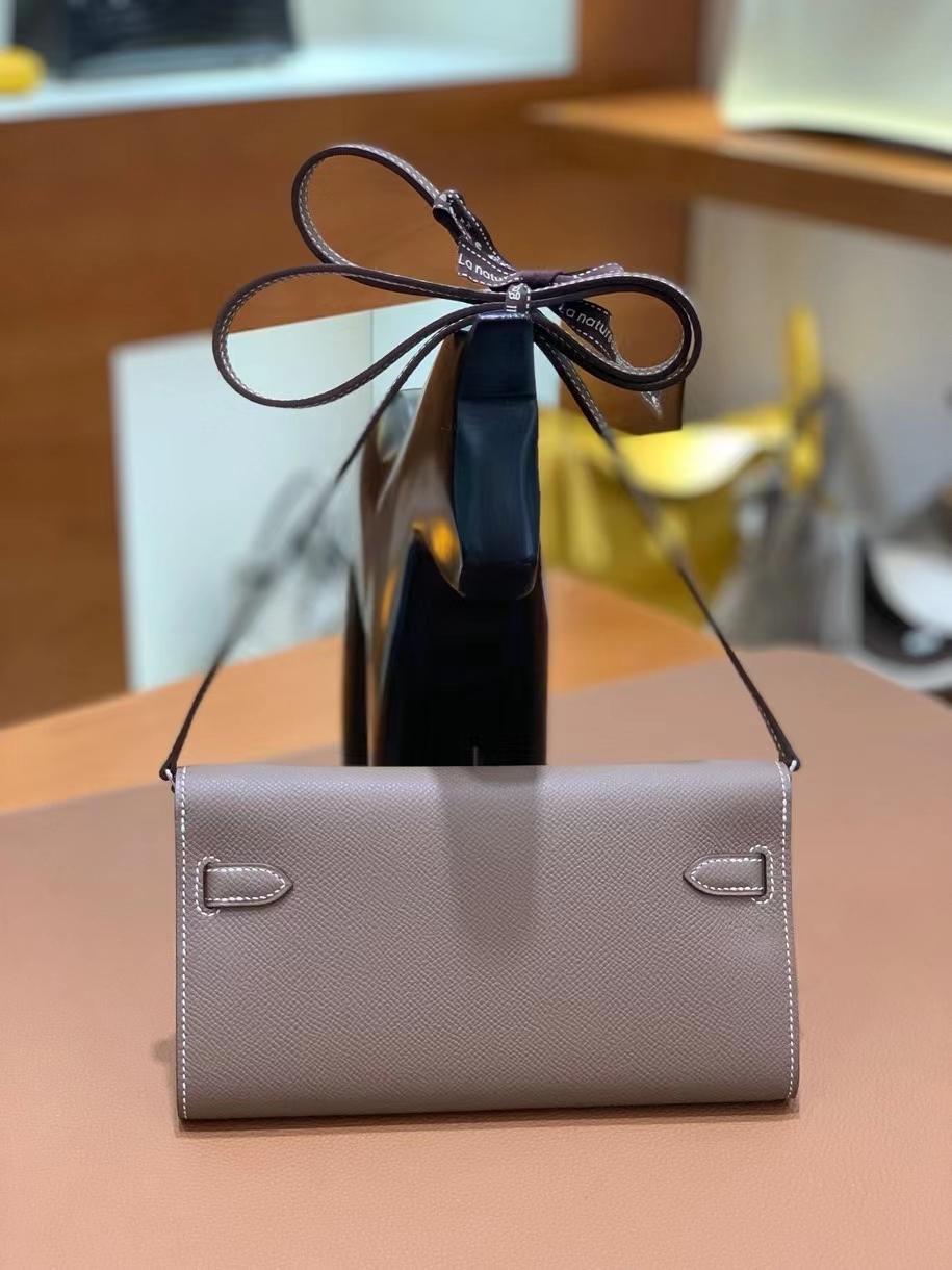 Hermès(爱马仕)Epsom 大象灰 Kelly togo wallet 银扣 现货