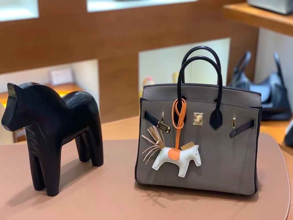 Hermès(爱马仕)Birkin 铂金包 山羊皮 大象灰拼黑色 金扣 25cm