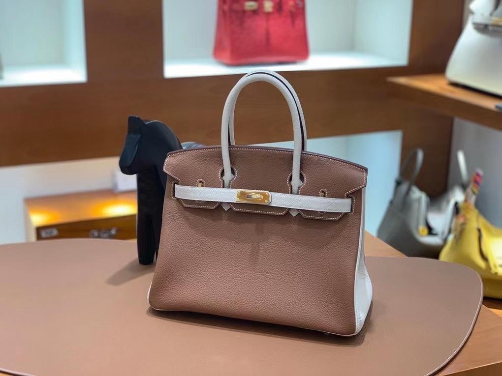 Hermès(爱马仕)Togo 金棕色 拼 奶昔白 BK 30 金扣