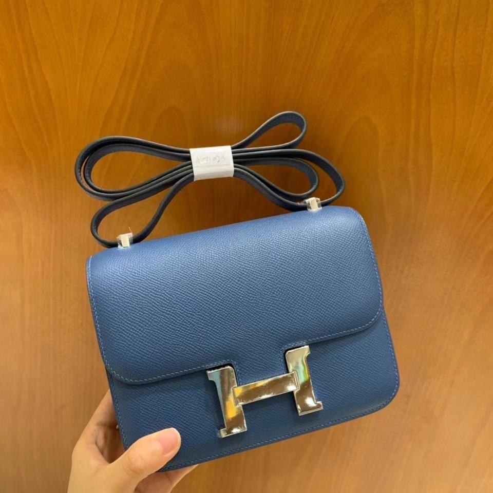Hermès(爱马仕)Constance 空姐包 epsom 玛瑙蓝 19cm 银扣 现货