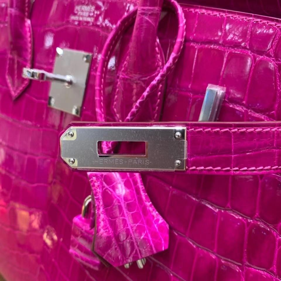 Hermès(爱马仕)Birkin 铂金包 亮面尼罗鳄 天方夜谭紫 银扣 30cm