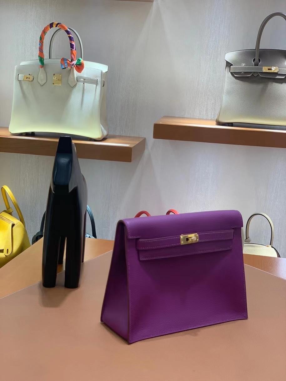 Hermès(爱马仕)evercolor 海葵紫 Kelly danse 22cm 金扣 现货