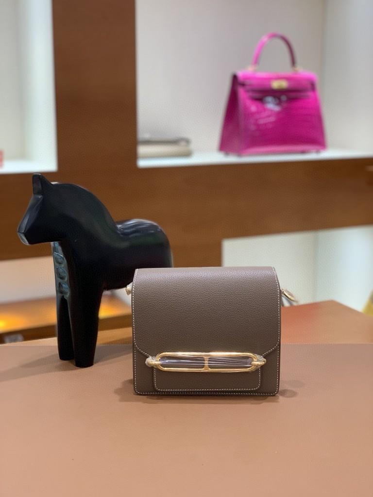 Hermès(爱马仕)Roulis 猪鼻子 evercolor 大象灰 18cm 金扣 现货
