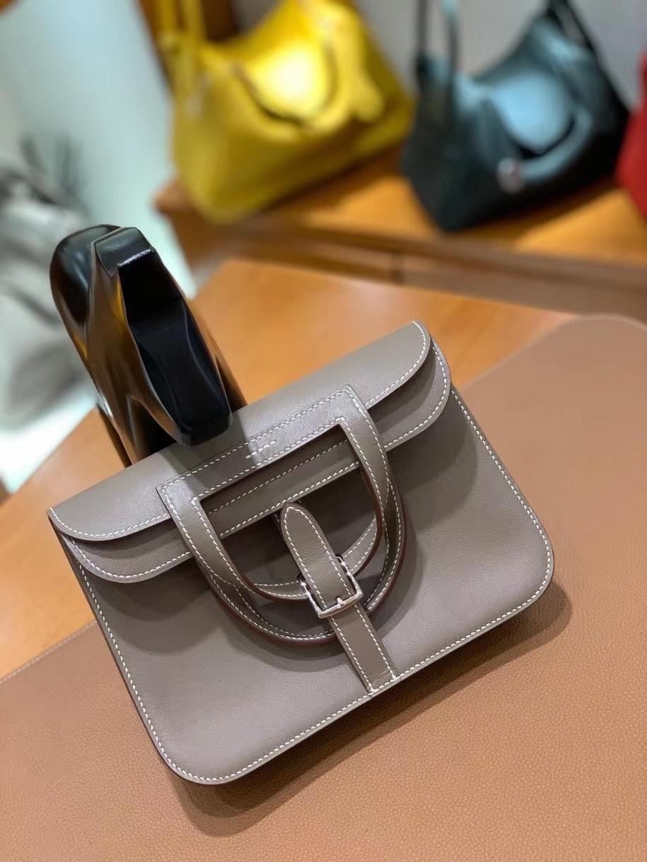 Hermès(爱马仕)Halzan 大象灰 Swift皮 22cm 银扣 现货