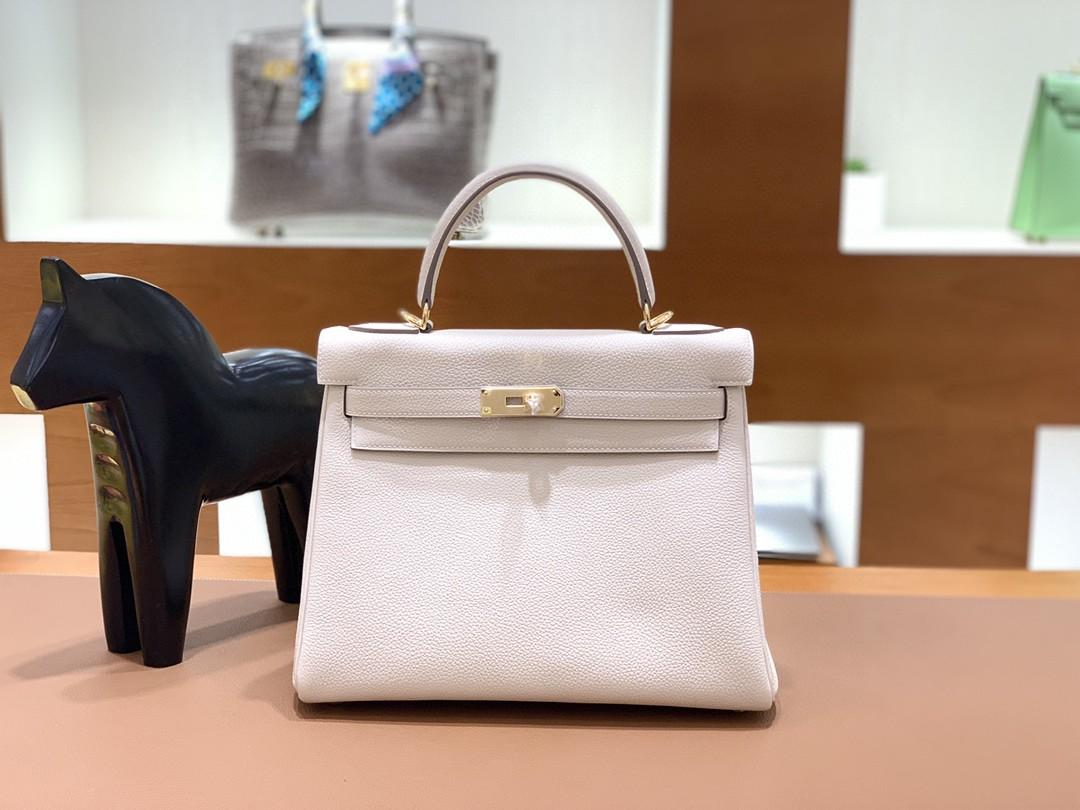 Hermès(爱马仕)Kelly 凯莉包 Togo 奶昔白 金扣 28cm
