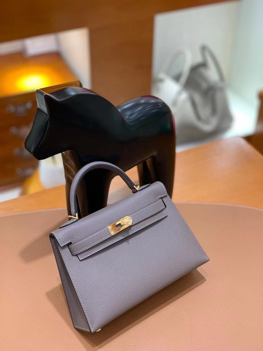 Hermès(爱马仕)epsom 锡器灰 miniKelly 19 金扣 现货