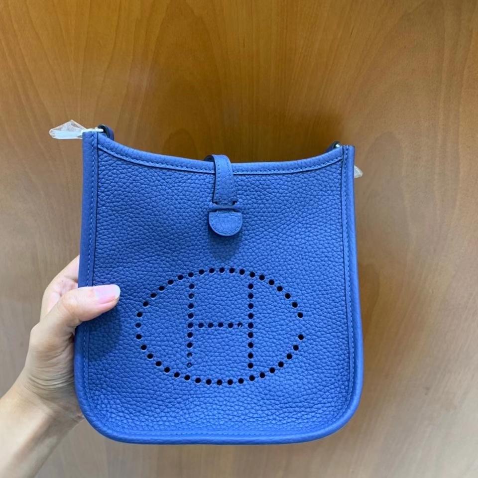 Hermès(爱马仕)TC 玛瑙蓝 Evelyne 16cm 银扣 现货