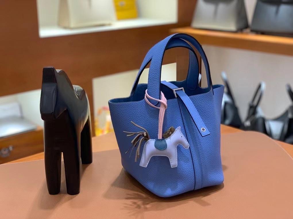 Hermès(爱马仕)Picotin 菜篮子 TC 天堂蓝 18cm 银扣 现货
