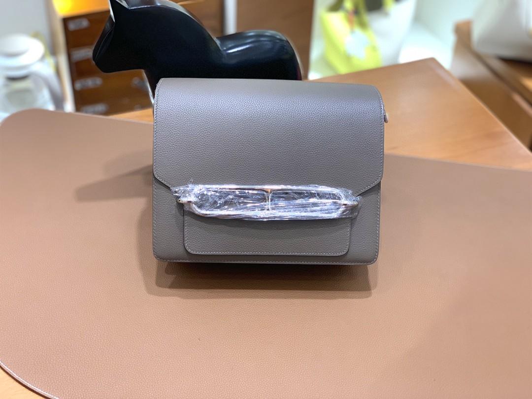 Hermès(爱马仕)Roulis 猪鼻子 evercolor 沥青灰 23cm 银扣 现货