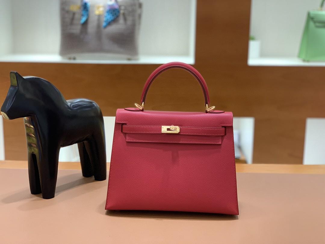 Hermès(爱马仕)Kelly 凯莉包 Epsom 国旗红 金扣 25cm