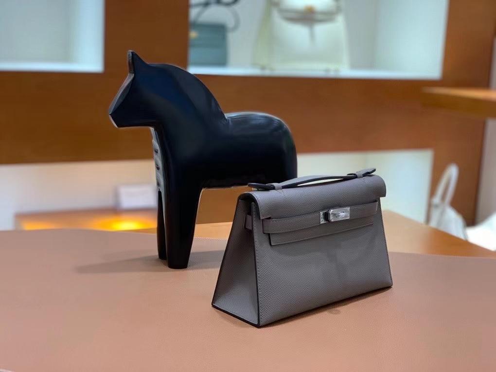 Hermès(爱马仕) Epsom 锡器灰 miniKelly 22cm 银扣 现货