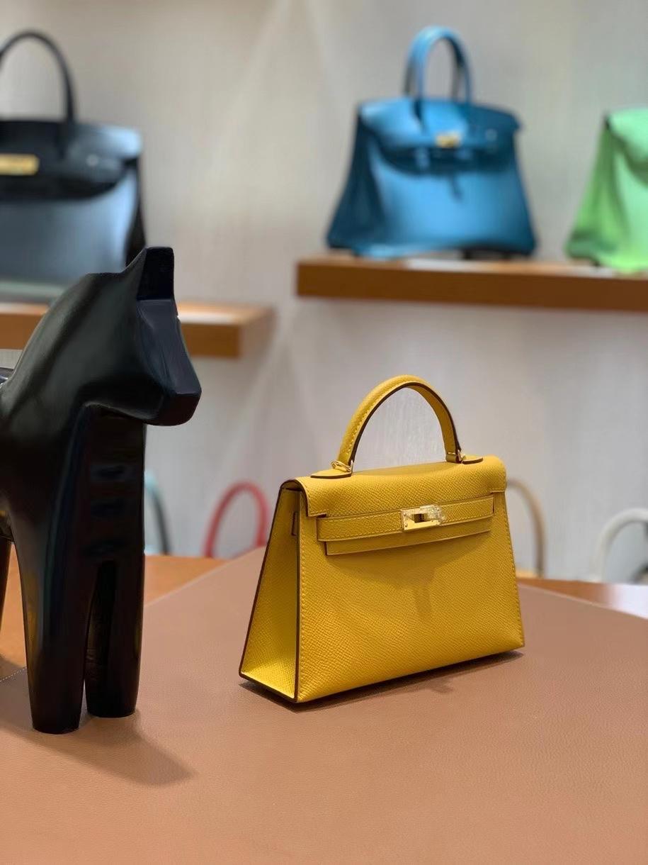 Hermès(爱马仕)Epsom 9D琥珀黄 minikelly 19cm 金扣 现货