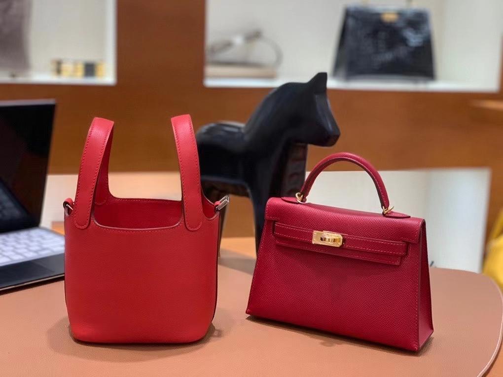 Hermès(爱马仕)Picotin 菜篮子 swift皮 S3心红色 14cm 银扣 现货