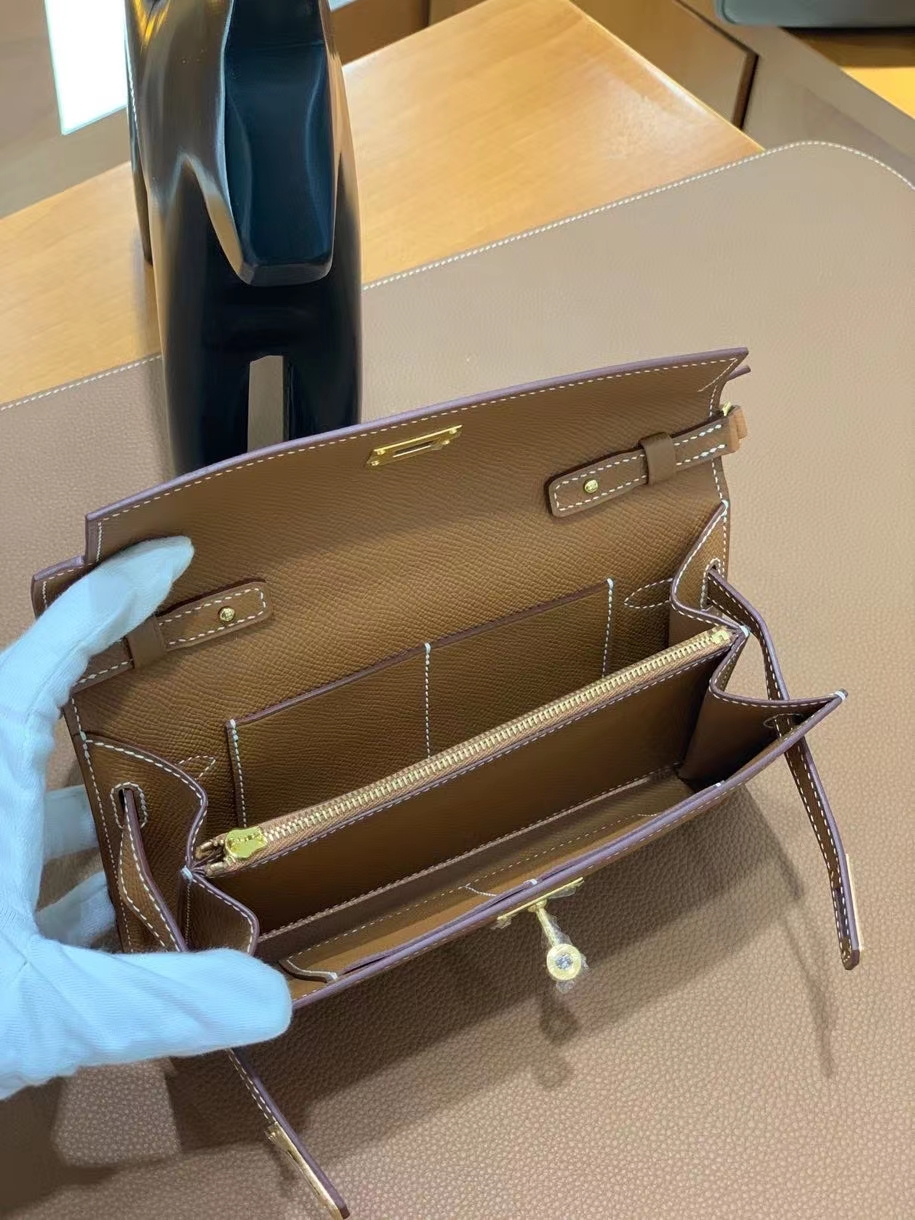 Hermès(爱马仕) Epsom 金棕色 Kelly to go wallet 金扣 现货
