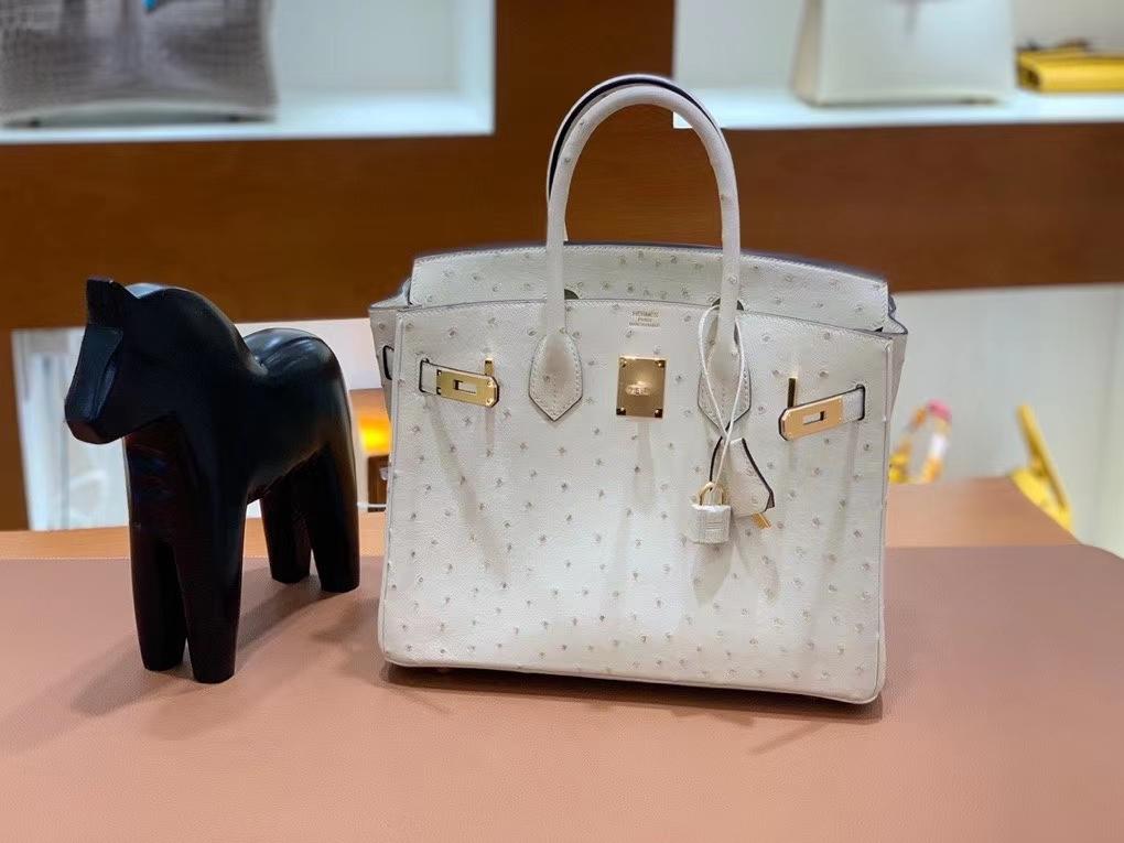 Hermès(爱马仕)Birkin 铂金包 鸵鸟皮 羊毛白 金扣 30cm