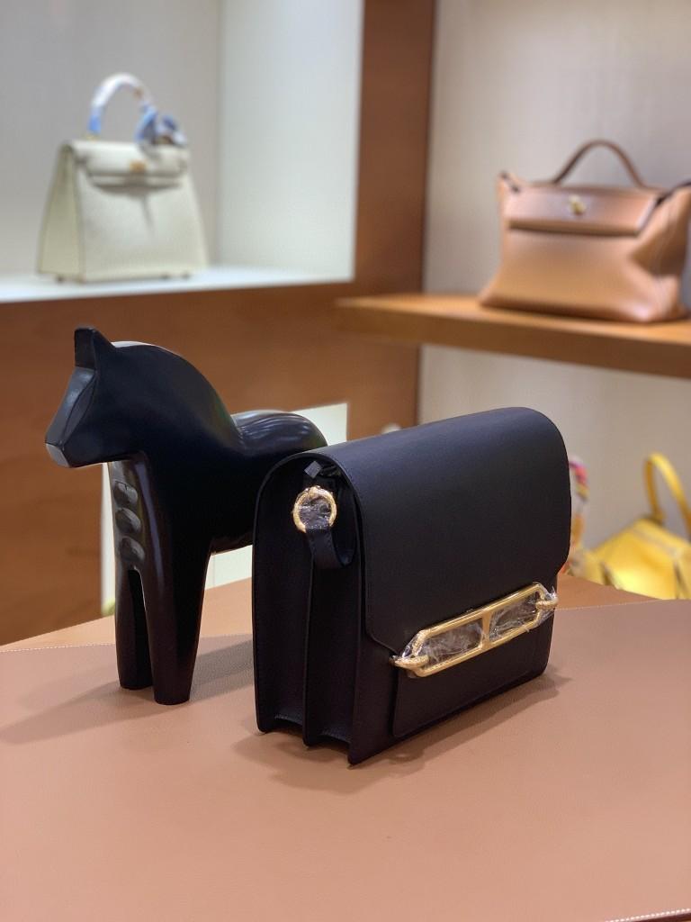 Hermès(爱马仕)Roulis 猪鼻子 evercolor 黑色 23cm 金扣 现货