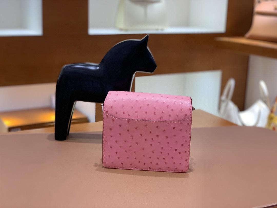 Hermès(爱马仕)Roulis 猪鼻子 鸵鸟皮 泡泡粉 18cm 银扣 现货
