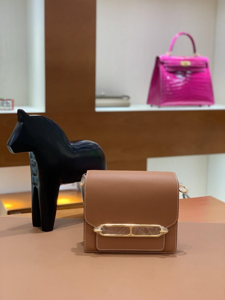 Hermès(爱马仕)Roulis 猪鼻子 evercolor 金棕色 18cm 金扣 现货