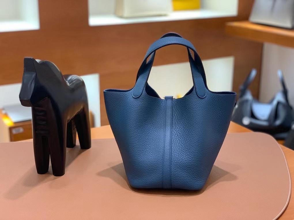 Hermès(爱马仕)Picotin 菜篮子 TC 鸭子蓝 18cm 金扣 现货
