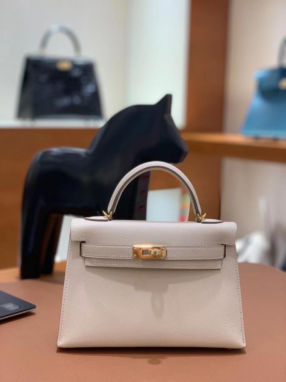 Hermès(爱马仕)epsom 奶昔白 minikelly 19cm 金扣 现货