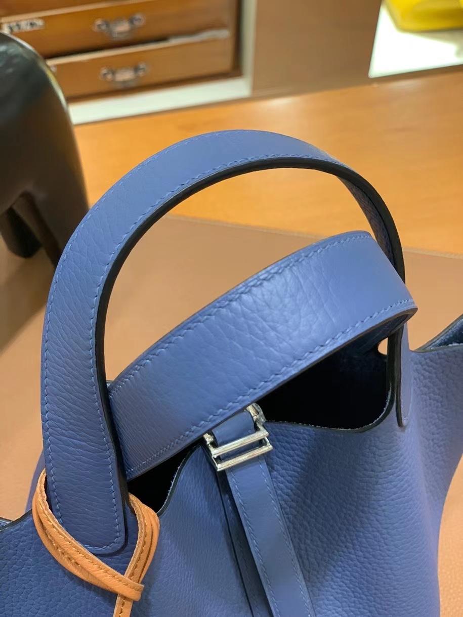 Hermès(爱马仕) Picotin 菜篮子 TC 玛瑙蓝 18cm 银扣 现货