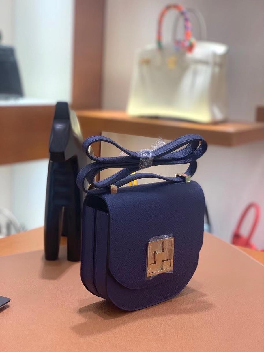 Hermès(爱马仕)Mosaique 马赛克 epsom 宝石蓝 17cm 银扣 现货