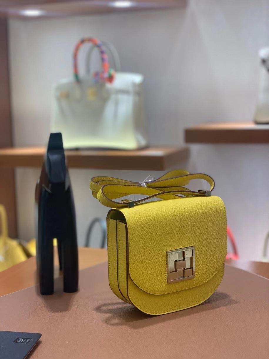 Hermès(爱马仕)Mosaique 马赛克 epsom 那不勒斯黄 17cm 金扣 现货