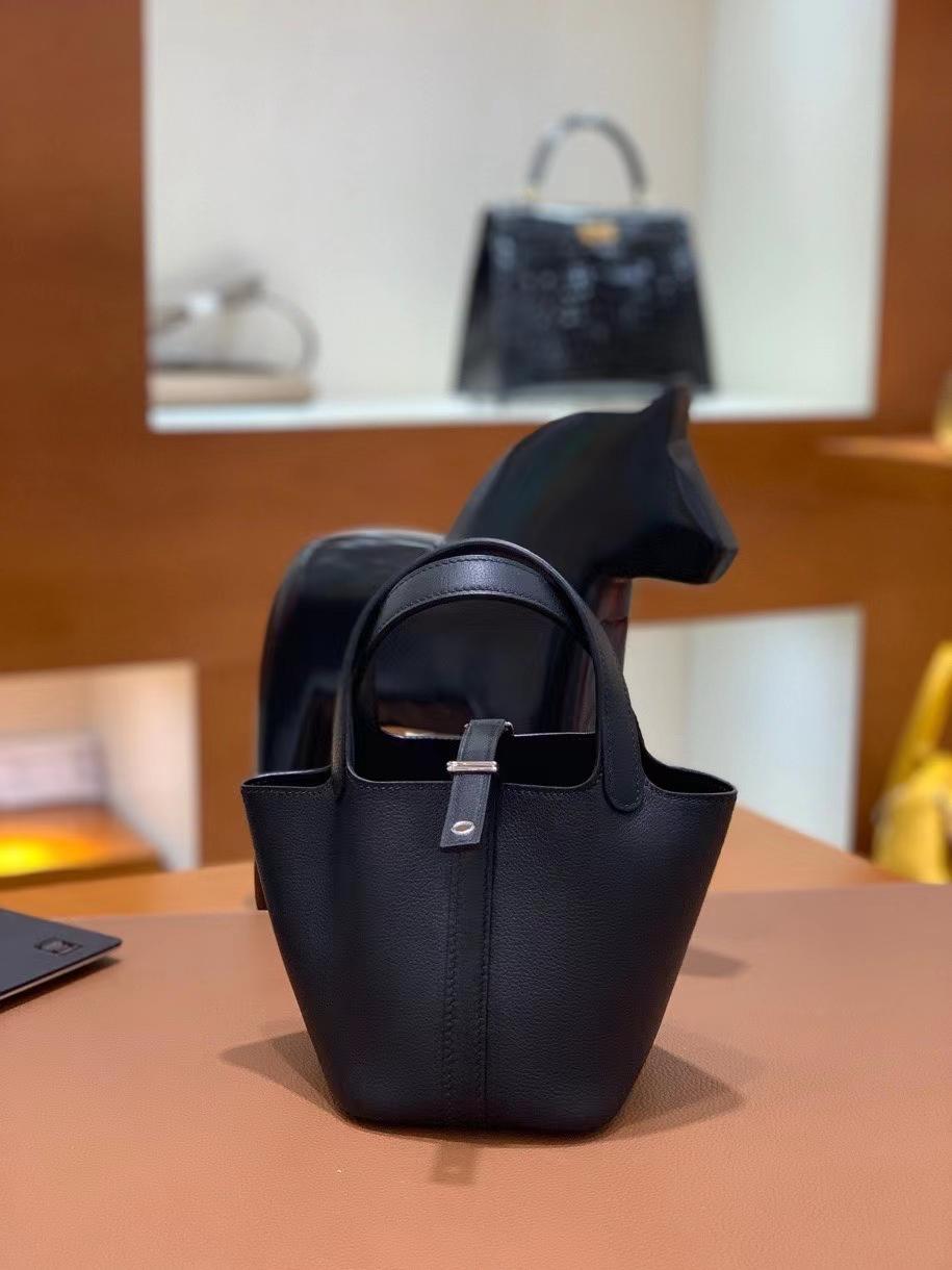 Hermès(爱马仕)Picotin 菜篮子 swift皮 黑色 14cm 银扣 现货