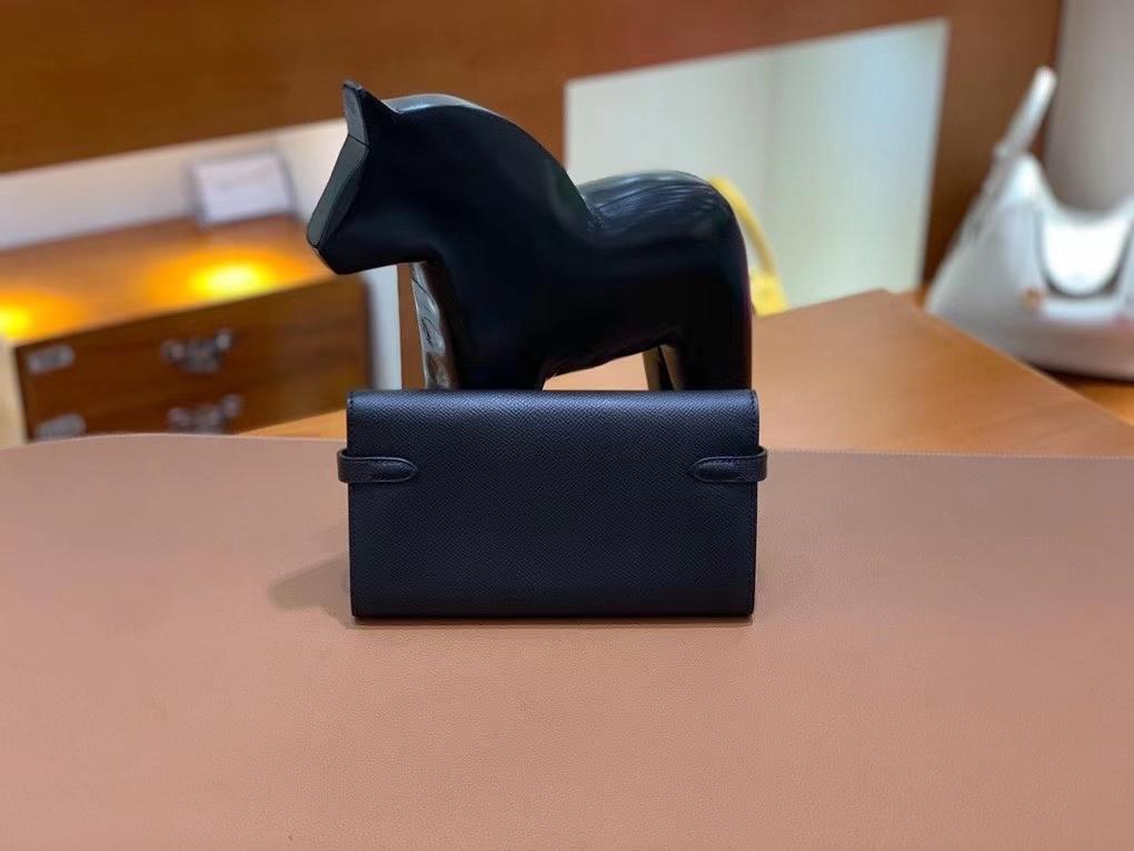 Hermès(爱马仕)epsom 黑色 Kelly 钱夹 银扣 现货