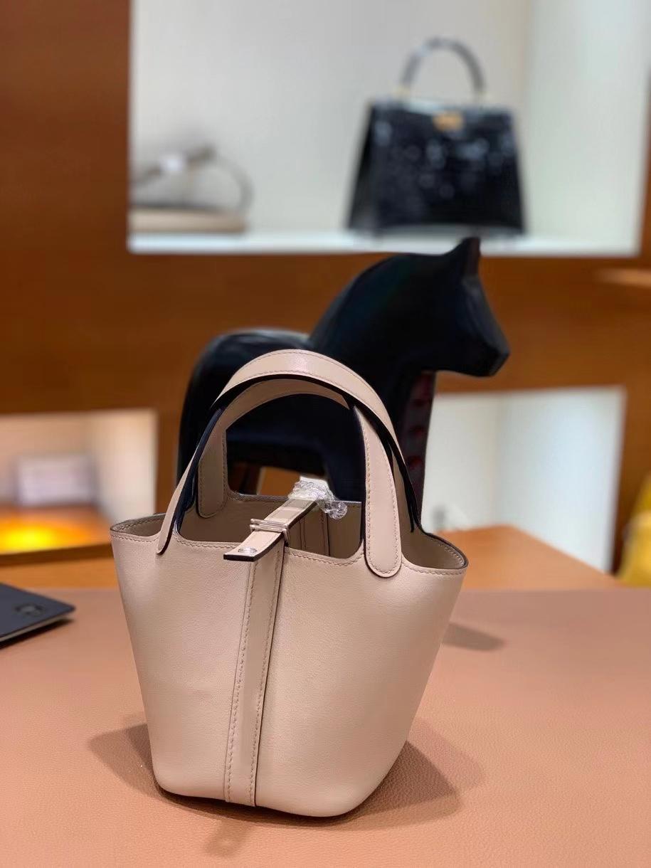 Hermès(爱马仕)Picotin 菜篮子 swift皮 S2风衣灰 14cm 银扣 现货
