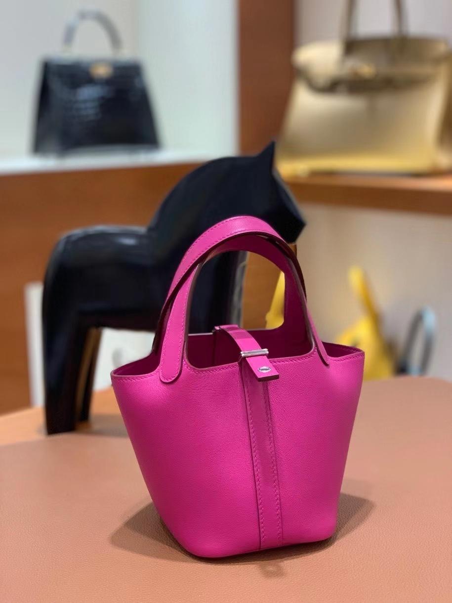 Hermès(爱马仕)Picotin 菜篮子 swift皮 L3 玫瑰紫 14cm 银扣 现货