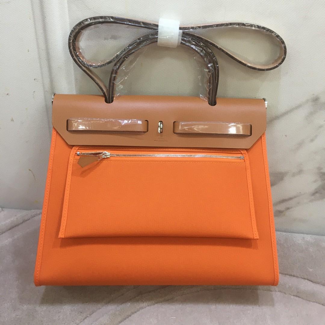 Hermès(爱马仕)Herbag 金棕色拼橙色 Box帆布 银扣 31cm