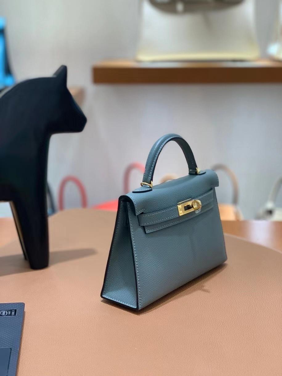 Hermès(爱马仕)epsom 杏仁绿 minikelly 19cm 金扣 现货
