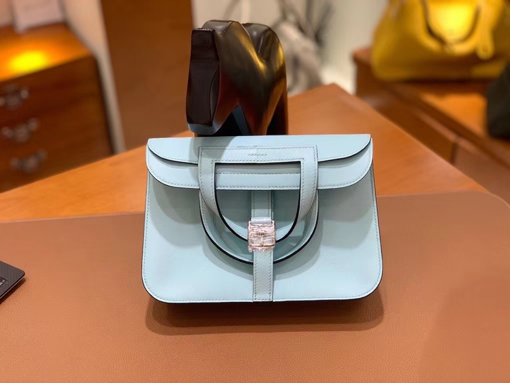 Hermès(爱马仕)Halzan 微风蓝 Swift皮 22cm 银扣 现货