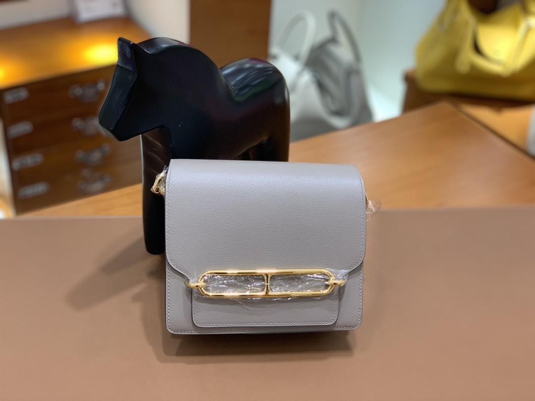 Hermès(爱马仕)Roulis 猪鼻子 evercolor 沥青灰 18cm 金扣 现货