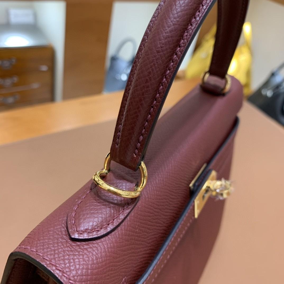 Hermès(爱马仕)Kelly 凯莉包 Epsom 波尔多酒红 金扣 25cm