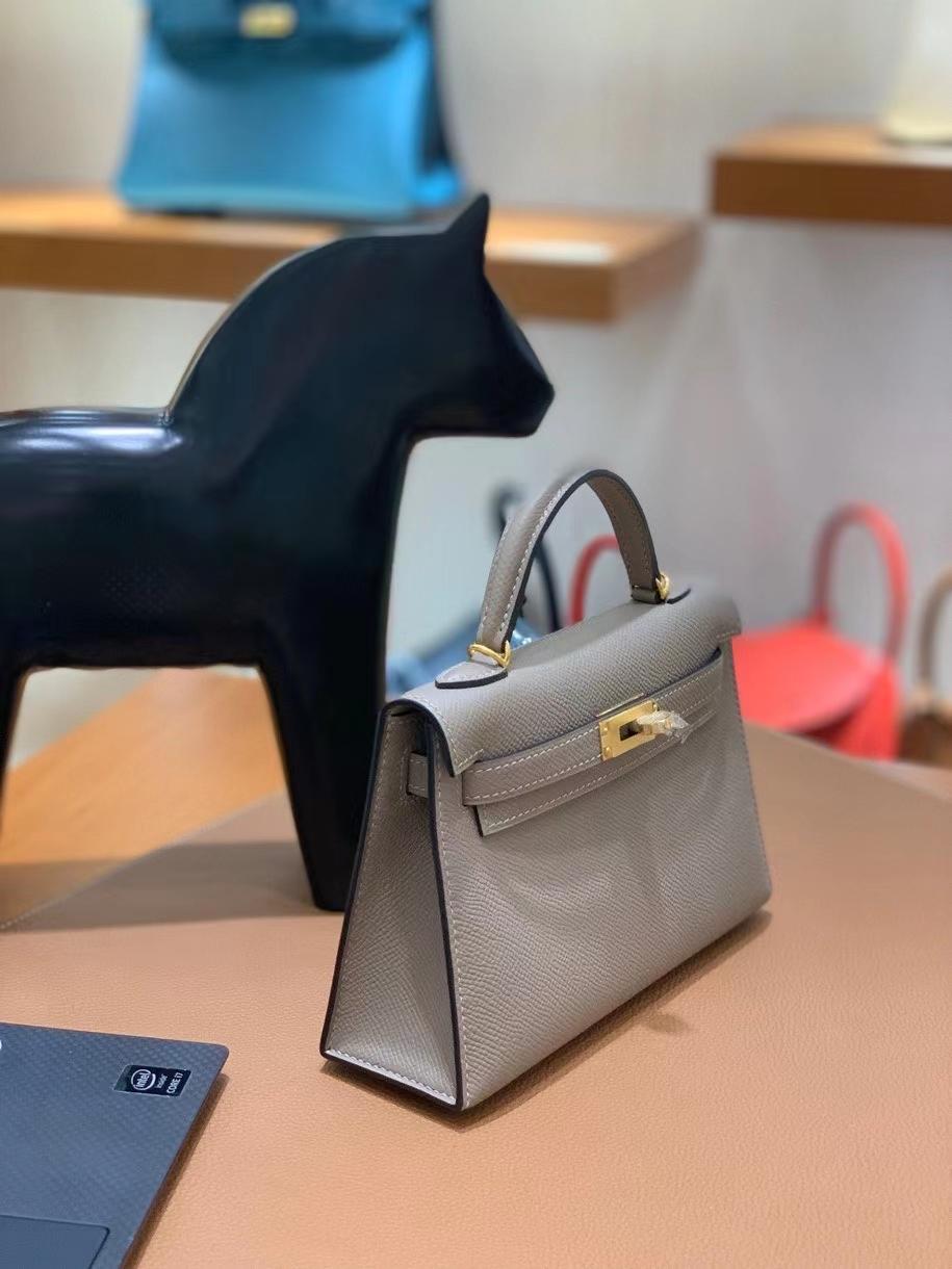 Hermès(爱马仕)epsom M8 沥青灰 minikelly 19 金扣 现货