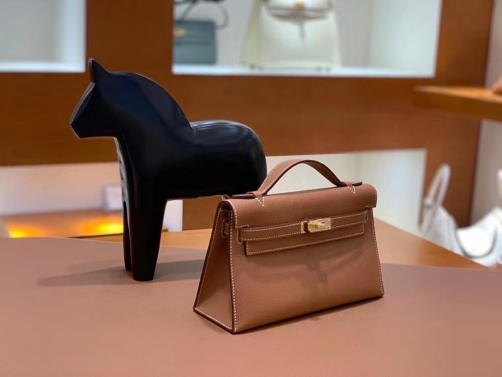 Hermès(爱马仕)Epsom 金棕色 miniKelly 22cm 金扣 现货