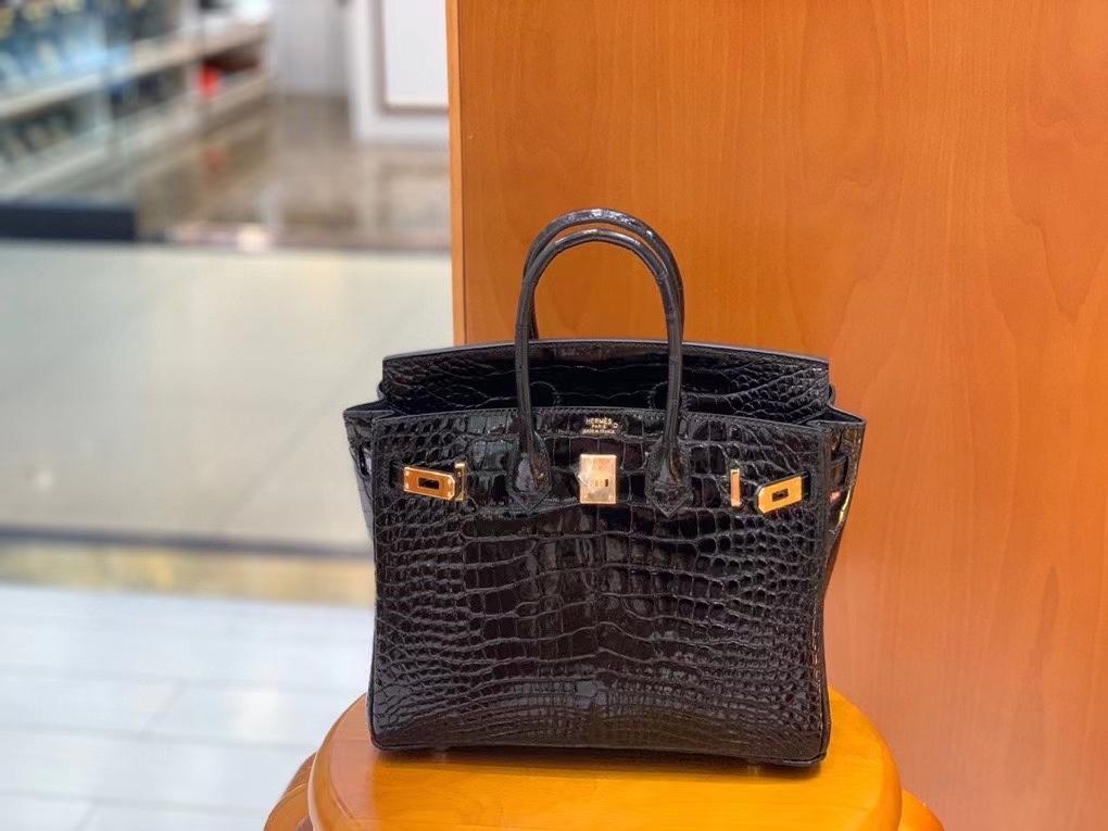 Hermès(爱马仕)Birkin 铂金包 亮面美洲鳄 黑色 25cm 金扣 现货