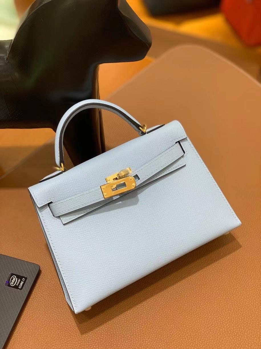 Hermès(爱马仕)epsom TO雾蓝色 minikelly 19cm 金扣 现货