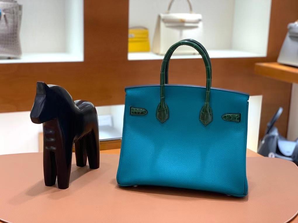 Hermès(爱马仕)Birkin Touch Togo 鳄鱼皮 孔雀绿 金扣 30cm