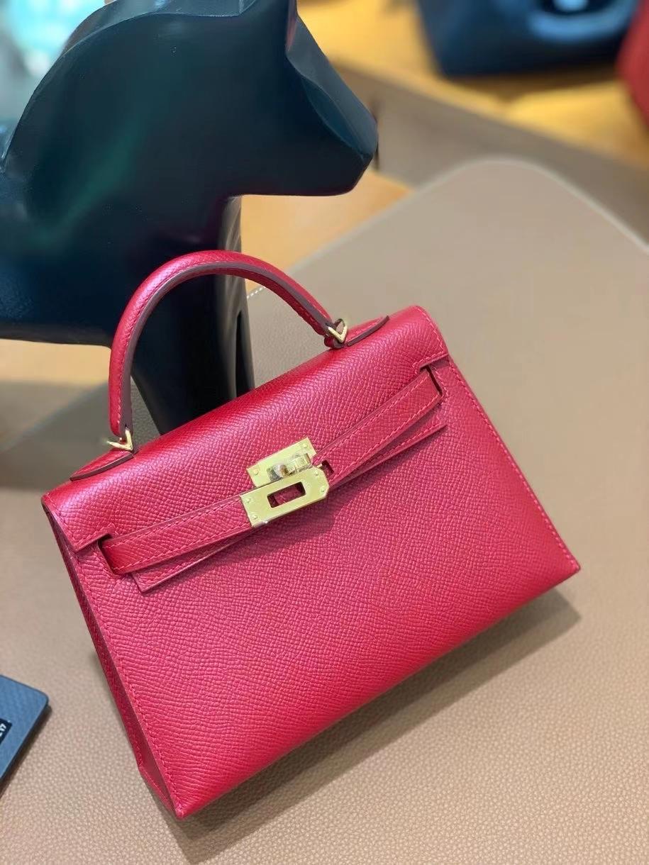 Hermès(爱马仕)epsom Q5国旗红 minikelly 19cm 金扣 现货