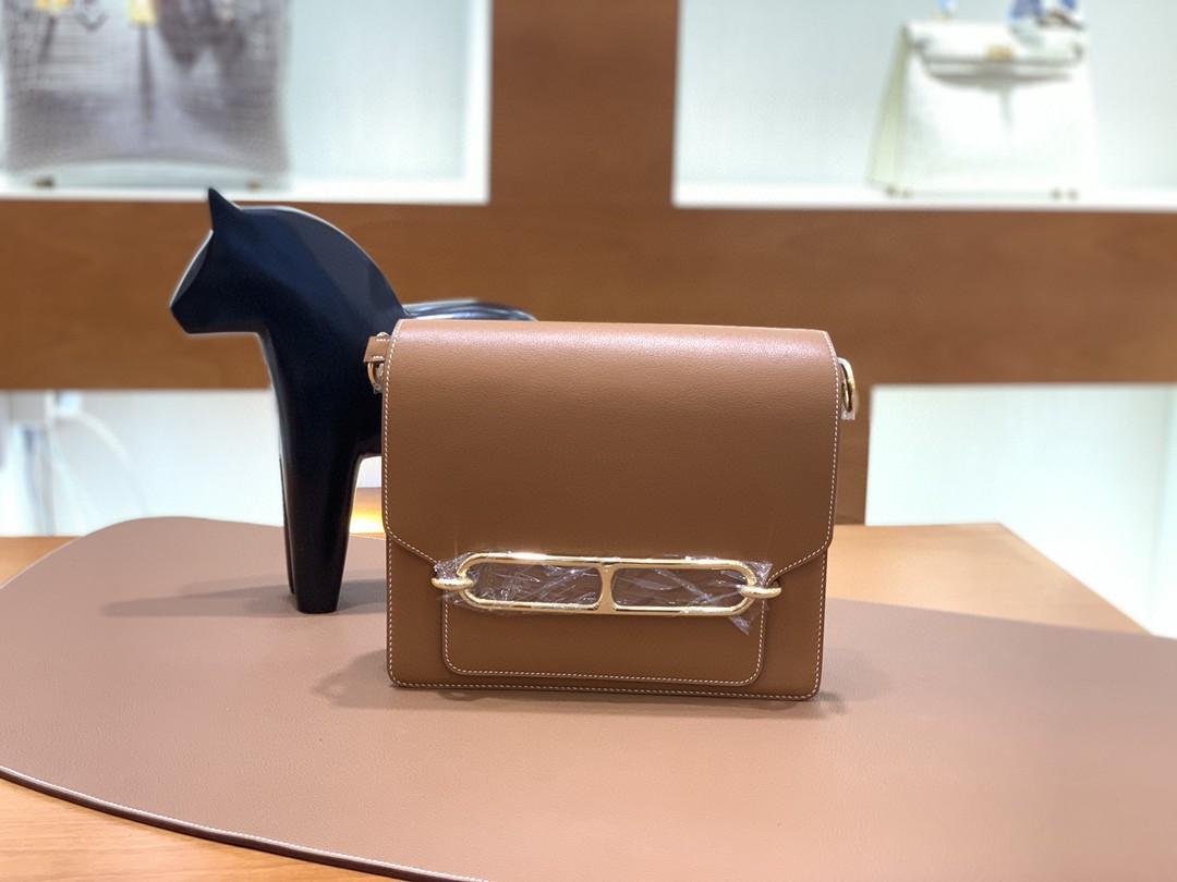 Hermès(爱马仕)Roulis 猪鼻子 evercolor 金棕色 23cm 金扣 现货
