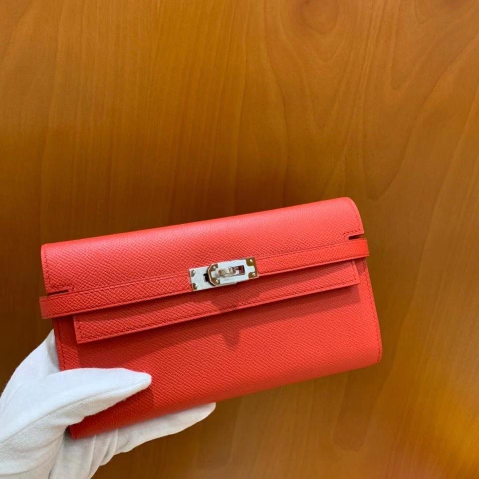 Hermès(爱马仕)epsom 斋尔普粉 Kelly 钱夹 银扣 现货